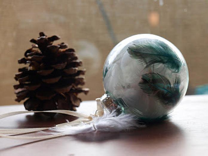 Новогодние шары, украшенные перышками