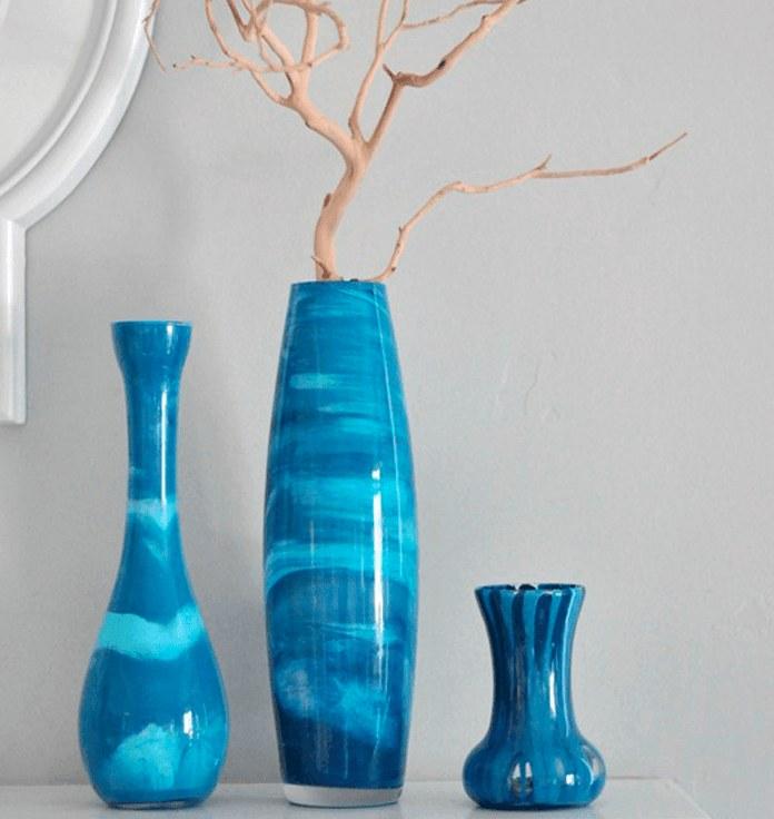 «Мраморная» ваза своими руками