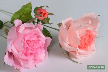 Как сделать цветы из бумаги с конфетами розы