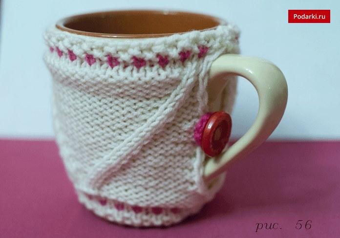 Щедрый вечер: чехол для чашки спицами в подарок