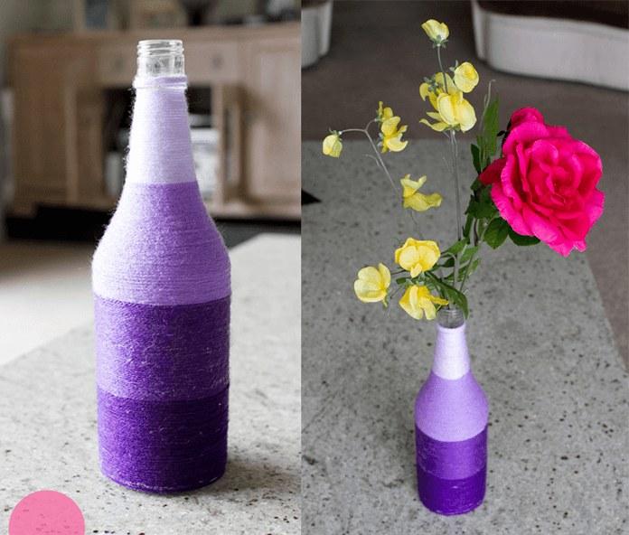 Ваза из стеклянной бутылки с фото