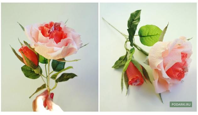 Бумажные цветы с конфетой