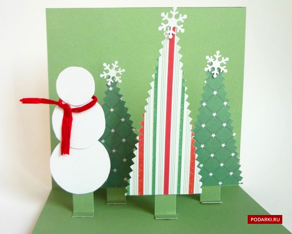 Объемная новогодняя открытки своими руками