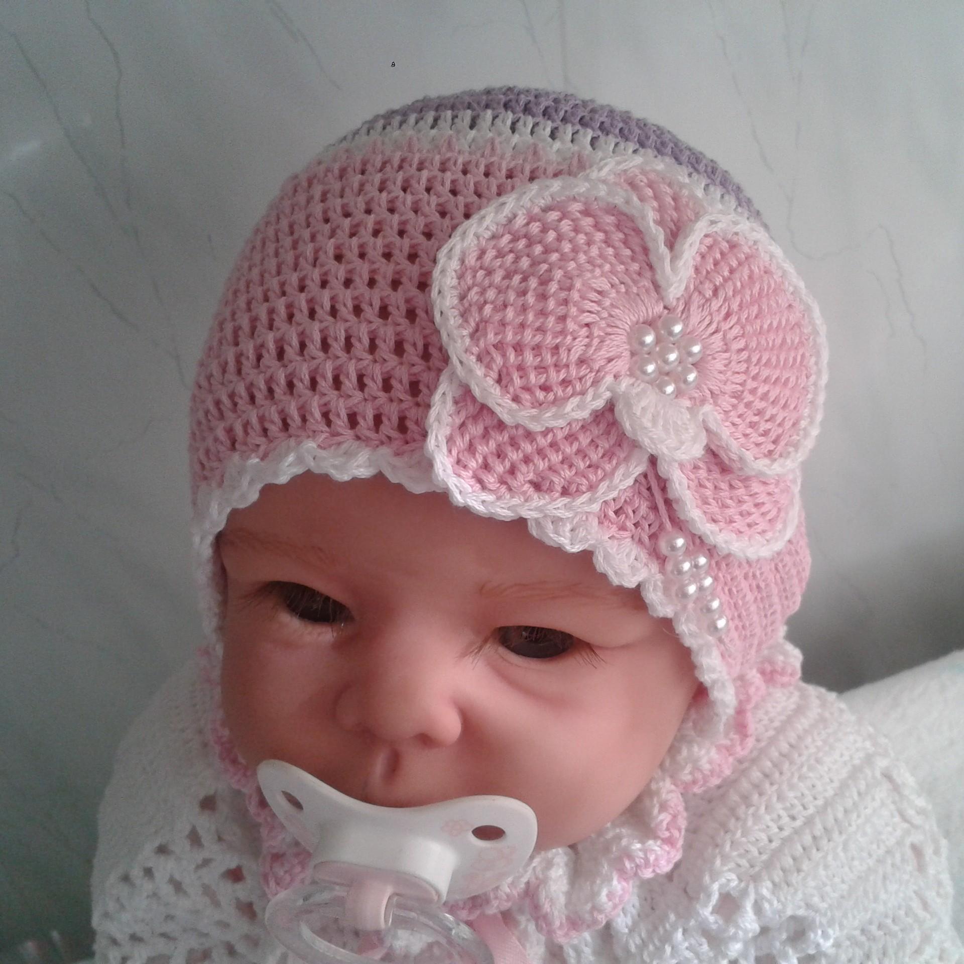 Вязание крючком для новорожденного шапка 23