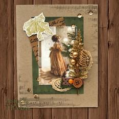 Новогодняя открытка Девочка у ёлки