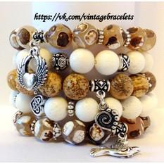 Комплект браслетов из натурального камня