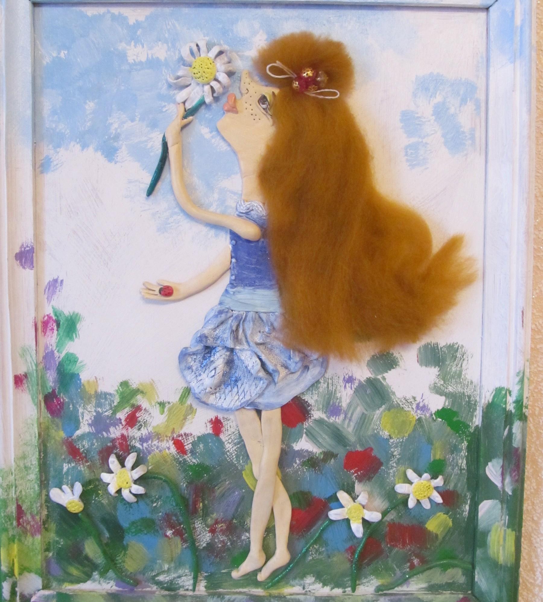 Картина девочка с цветами своими руками 84