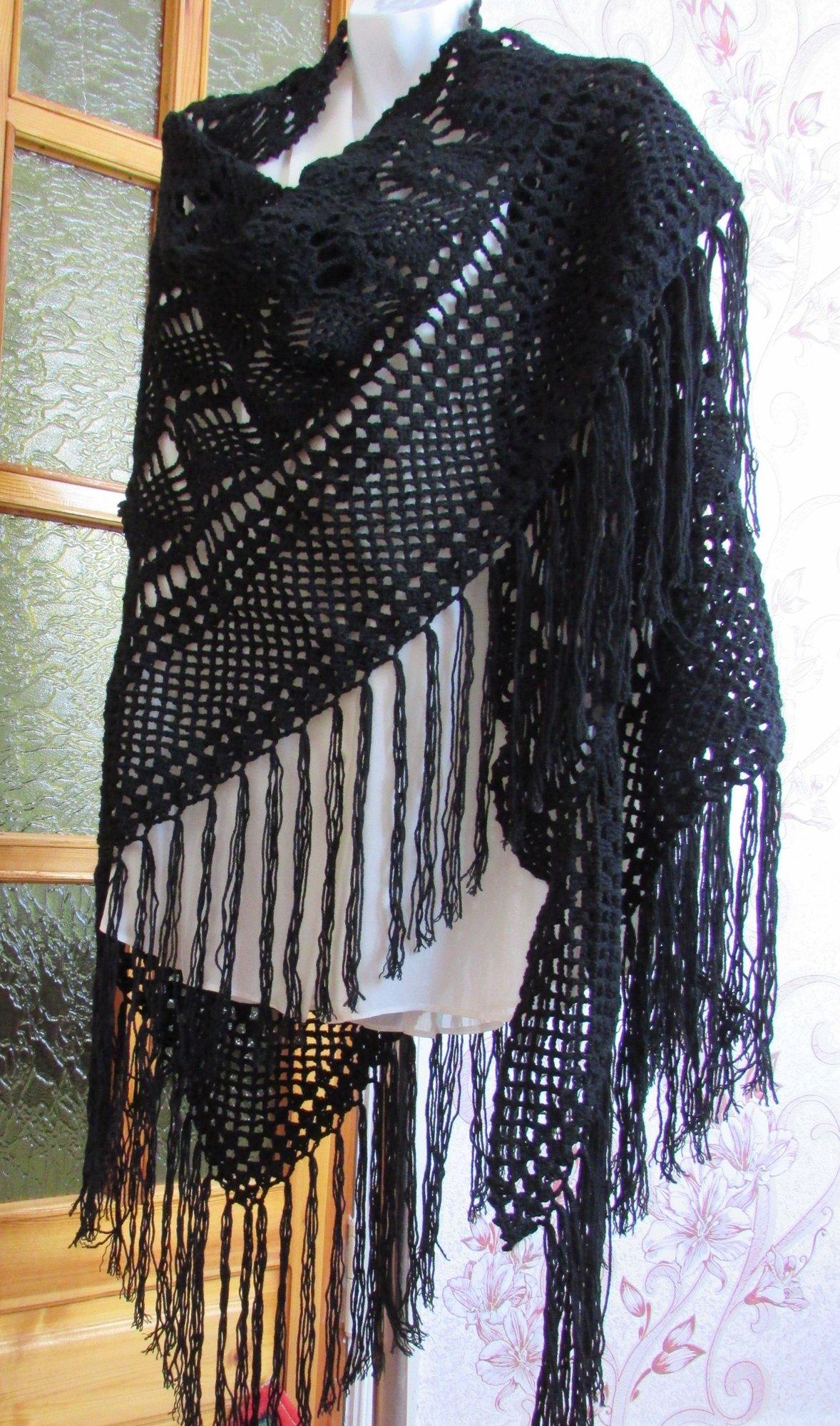 вязаная шаль ручной работы черный ажур 2800 руб своими руками