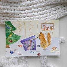 Акварельная открытка ручной работы Неожиданный подарок