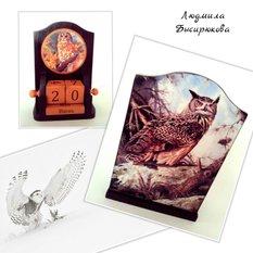 Вечный календарь ручной работы Сова