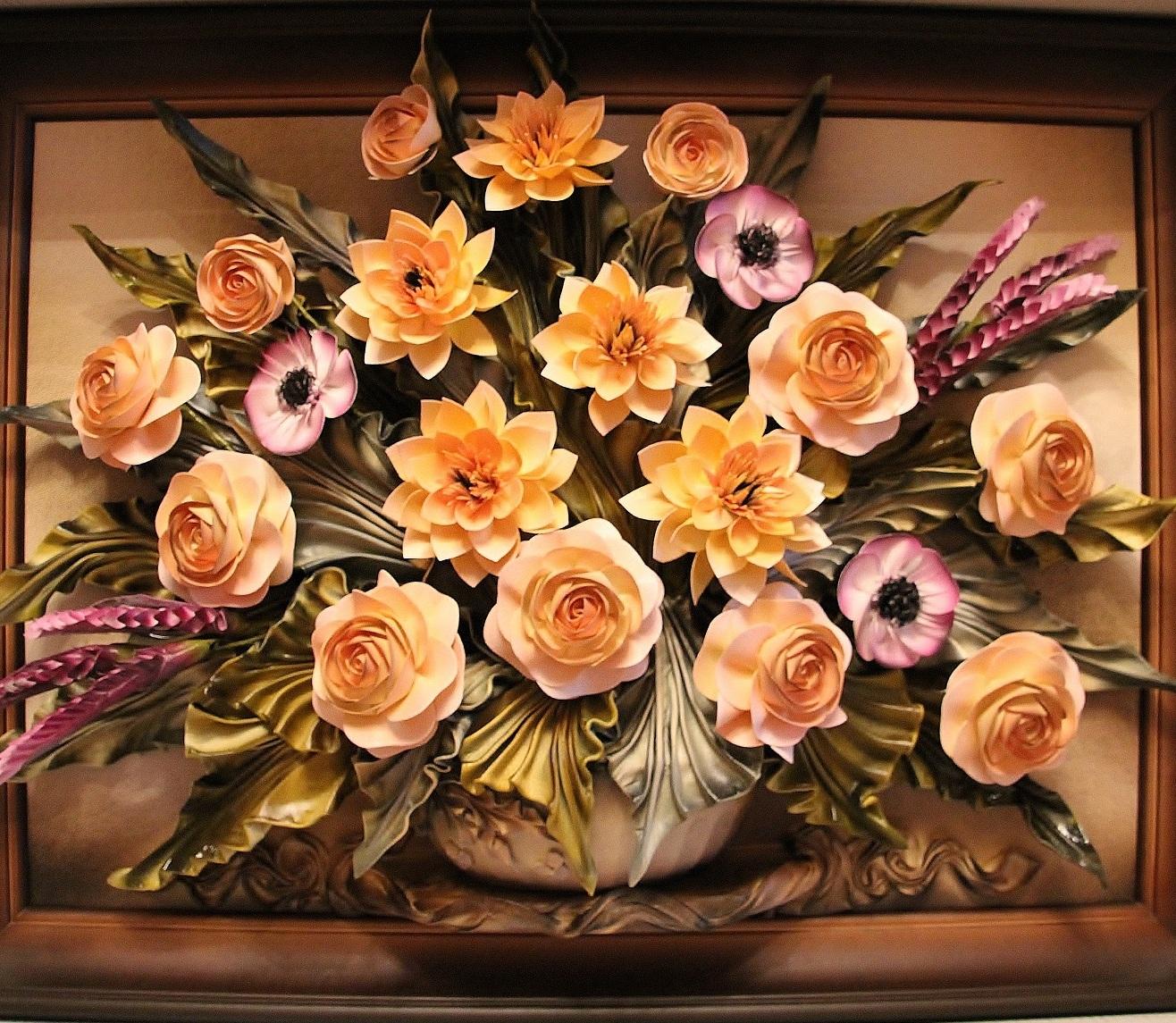 Объемная картина с цветами своими руками 126