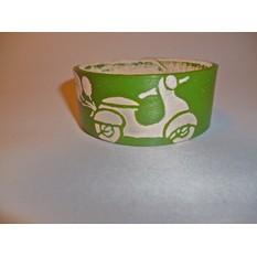 Кожаный браслет «Винтажный мопед»