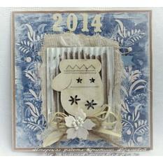 Открытка ручной работы Новогодняя рукавичка