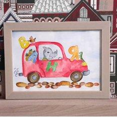 Акварельная постер ручной работы в детскую комнату