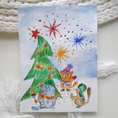 Авторская новогодняя открытка Салют