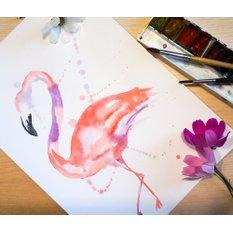 Акварельный постер ручной работы Розовый фламинго