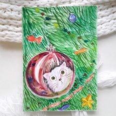 Авторская акварельная открытка Новогодний кот