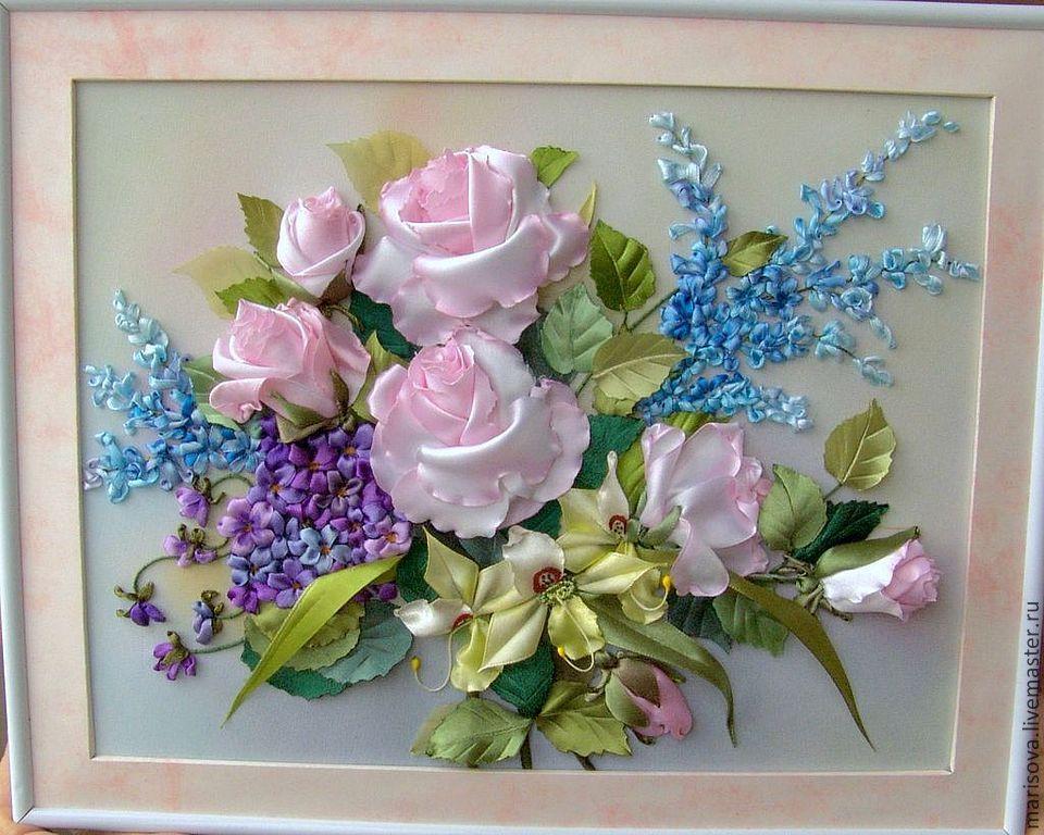 Вышивка лентами объёмные розы 85