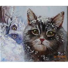 Картина Winter cat
