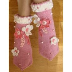 Вязаные носкотапки Розовый зефир
