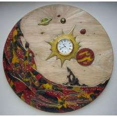 Декоративное панно с часами Открытый космос