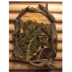 Панно Сказочный домик в горах и его обитатели