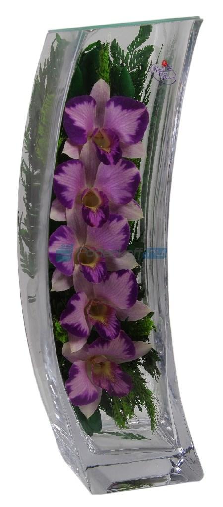 Цветы в стекле в вакууме «Грация бело-сиреневая»